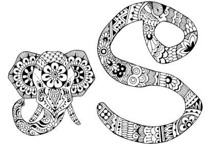 Cuadro Letra S decorada al estilo de mehndi