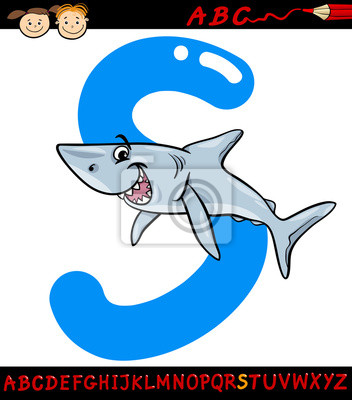 Letra S Para La Ilustración De Dibujos Animados De Tiburón Pinturas
