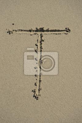 letra T alfabeto arena