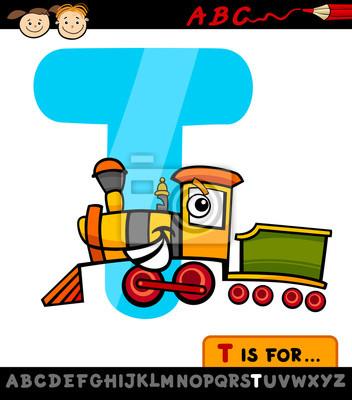 Letra T Con La Ilustración De Dibujos Animados De Tren Pinturas Para