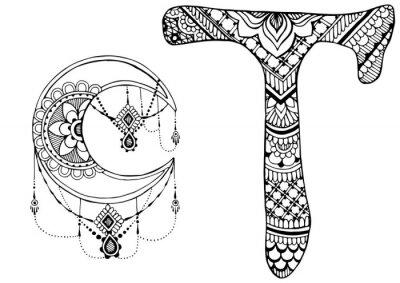 Cuadro Letra T decorada al estilo de mehndi