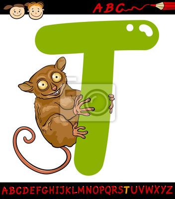 Letra T Para La Ilustración De Dibujos Animados Tarsier Pinturas