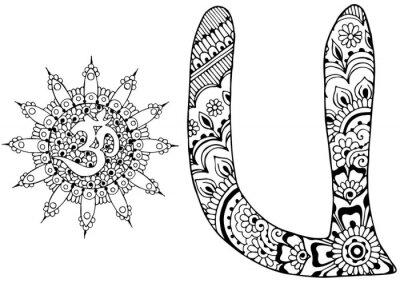 Cuadro Letra U decorada al estilo de mehndi