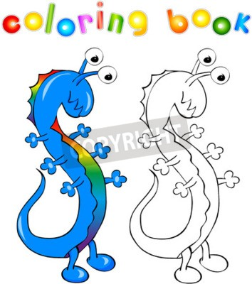 Libro de colorear. dragón-monstruo divertido con la piel del ...