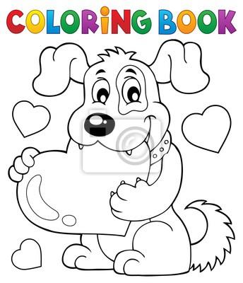 Libro de colorear tema de perro de san valentín 1 pinturas para la ...