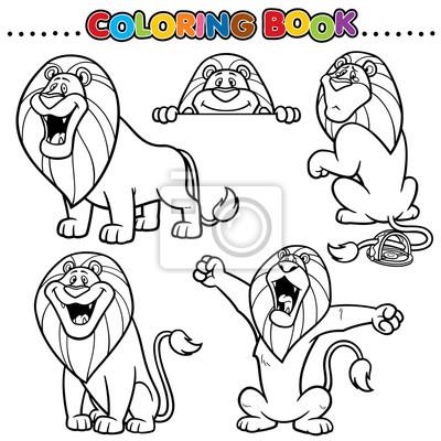 Libro de dibujos animados para colorear - león pinturas para la ...