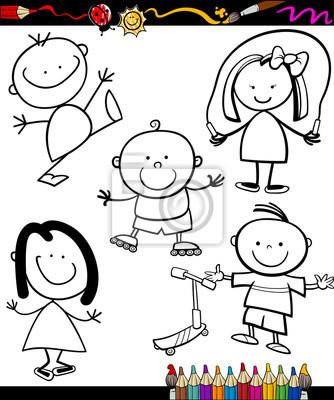 Cuadro Libro De Niños Felices Para Colorear De Dibujos Animados