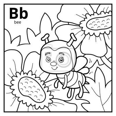 Cuadro Libro Para Colorear Alfabeto Incoloro Letra B Abeja