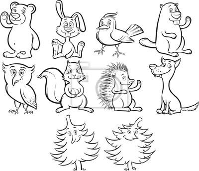 Libro para colorear animales del bosque lindo de dibujos animados ...