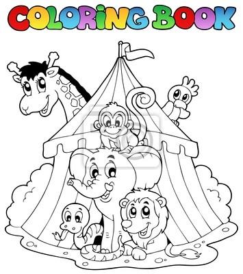 Libro para colorear animales en tienda de campaña pinturas para la ...