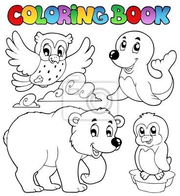 Libro para colorear animales felices invierno pinturas para la pared ...