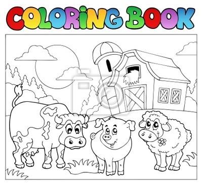 Libro para colorear con animales de granja 3 pinturas para la pared ...