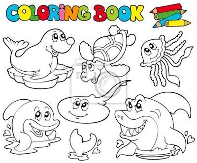 Libro para colorear con animales marinos 1 pinturas para la pared ...