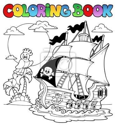 Libro para colorear con barco pirata 2 pinturas para la pared ...