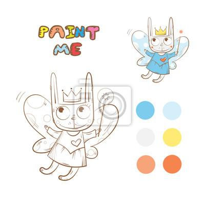 Libro para colorear con conejo de hadas de dibujos animados ...