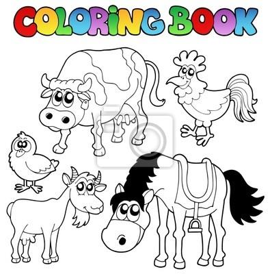 Libro para colorear con dibujos animados de granja pinturas para la ...
