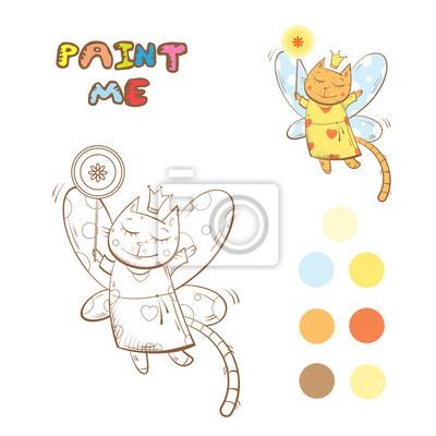 Libro para colorear con el gato de hadas de dibujos animados ...