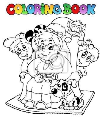 Libro Para Colorear Con La Abuela Y Los Niños Pinturas Para La Pared