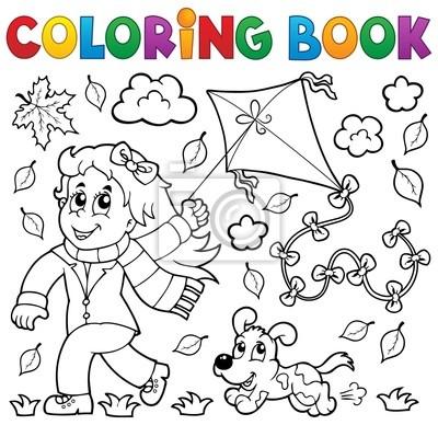 Libro para colorear con la chica y la cometa pinturas para la pared ...