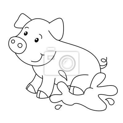 Libro para colorear con la granja de animales, vector de cerdo ...