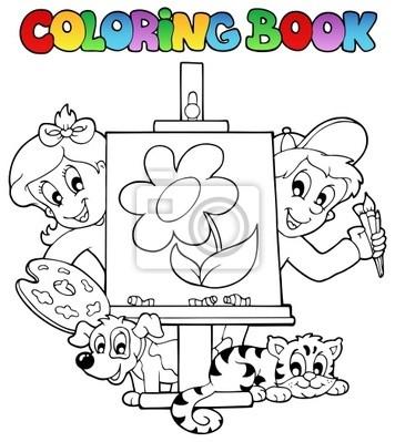 Libro para colorear con niños y lienzo pinturas para la pared ...