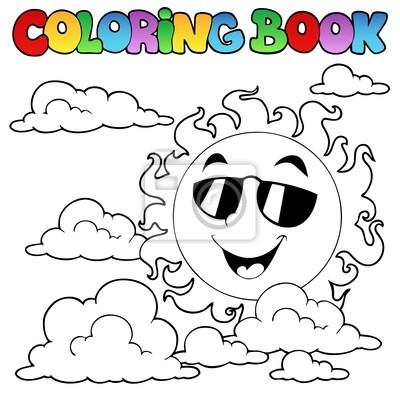 Libro para colorear con sol y nubes 1 pinturas para la pared ...