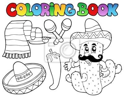 Libro para colorear con tema mexicano 2 pinturas para la pared ...