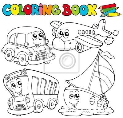 Libro para colorear con varios vehículos pinturas para la pared ...