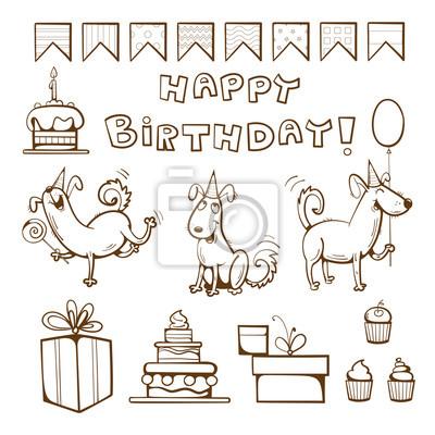 Libro para colorear cumpleaños. perros lindos, regalos, torta ...