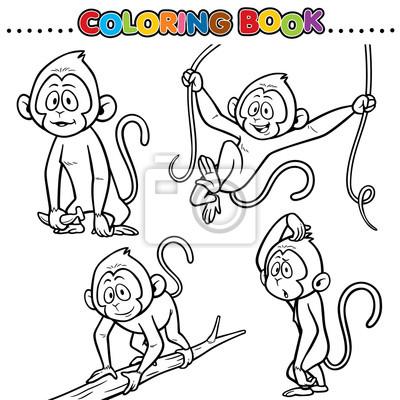 Libro para colorear de la historieta - mono pinturas para la pared ...
