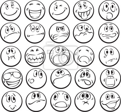 Libro para colorear de las caras emocionales pinturas para la pared ...
