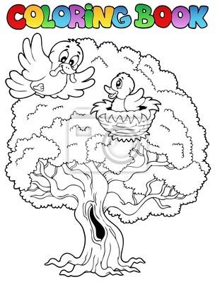 Libro para colorear gran árbol con pájaros pinturas para la pared ...