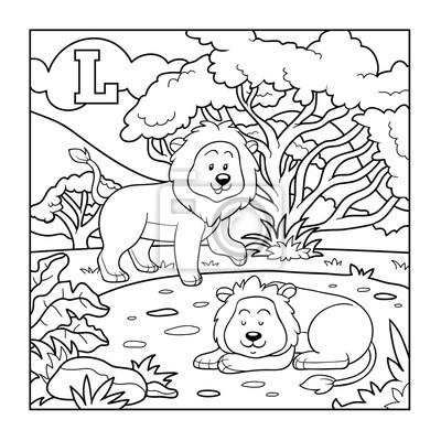Libro Para Colorear León Alfabeto Incoloro Para Niños