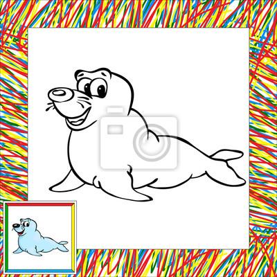 Libro Para Colorear Lobo Marino De Dibujos Animados Con La