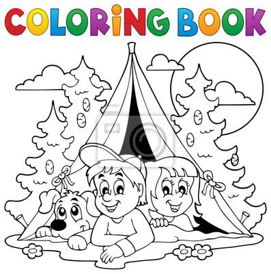 Libro para colorear los niños de camping en el bosque pinturas para ...
