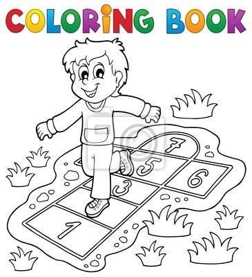 Cuadro Libro Para Colorear Los Niños Juegan El Tema 4