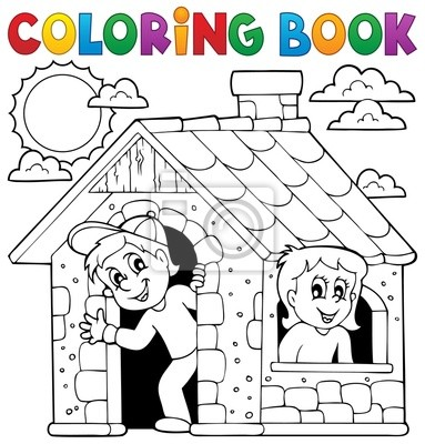 Libro para colorear niños jugando en casa pinturas para la pared ...