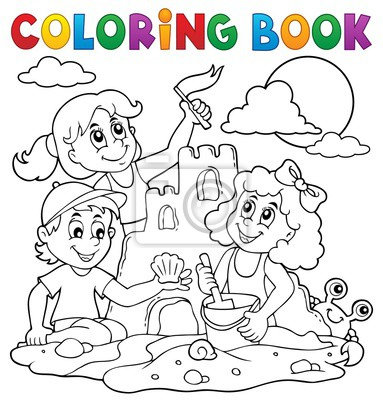 Libro para colorear niños y castillo de arena pinturas para la pared ...