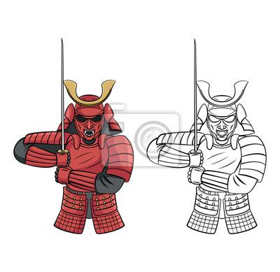 Libro para colorear samurai warrior personaje de dibujos animados ...