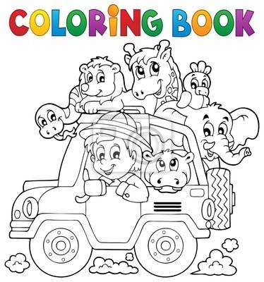 Libro para colorear tema de viajero coche 2 pinturas para la pared ...
