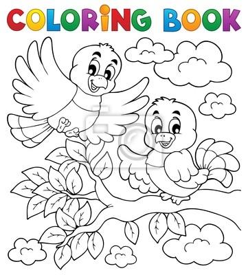 Libro para colorear tema del pájaro 2 pinturas para la pared ...