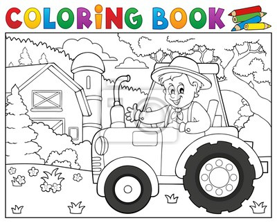 Libro para colorear tractor cerca de la granja tema 1 pinturas para ...