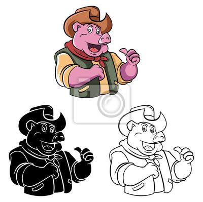 Libro Para Colorear Vaquero Cerdo Personaje De Dibujos