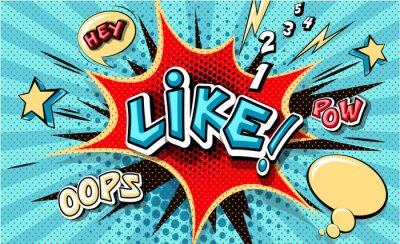 Cuadro Like. Pop art cloud bubble. Funny speech bubble. Trendy Colorful retro vintage background in popart retro comic style. Illustration easy editable for Your design. Explosion comic cartoon effect.