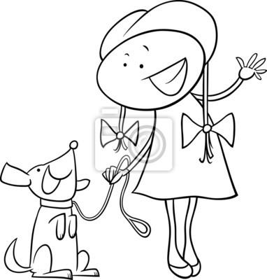 Linda chica con la página para colorear perro pinturas para la pared ...