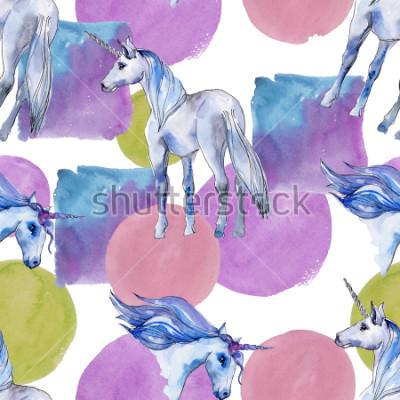 Cuadro Lindo caballo de unicornio. Los niños de cuento de hadas dulce sueño. Modelo a partir del fondo del cuerno animal del arco iris. Papel tapiz de tela con textura de impresión. Acuarela animal salvaje