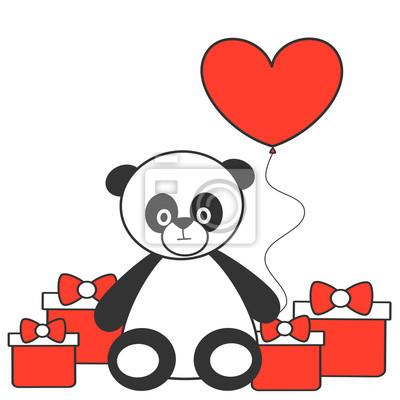 Dibujo Oso Panda Con Corazon