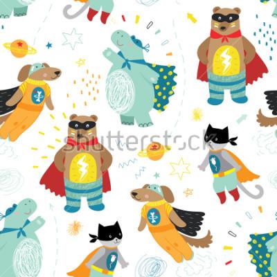 Cuadro lindo mano dibujada niños patrón de superhéroes con perro, gato, oso y hipopótamo