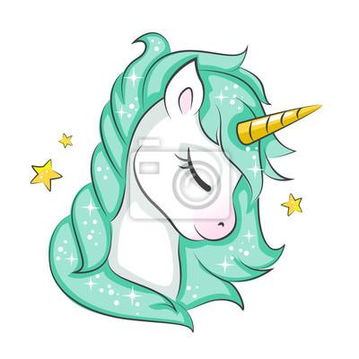 Lindo Unicornio Magico Diseno Vectorial Aislado Sobre Fondo Blanco