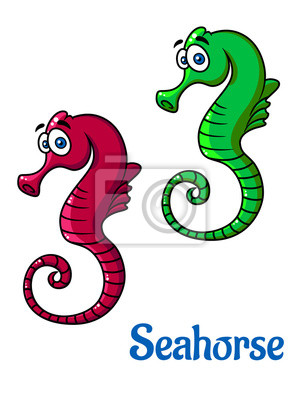 Lindos pequeños caballitos de mar de dibujos animados pinturas para ...
